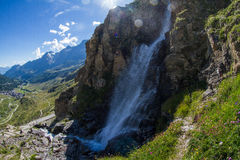 Waterfall. Waterfall at the foot of the Matterhorn, Breuil Cervinia, Italy Stock Photography