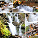 Waterfall in forest. Collage with four Royalty Free Stock Images