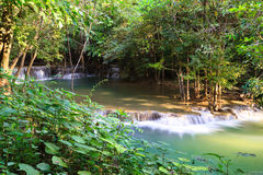 Waterfall in the forest. Deep forest Waterfall in Kanchanaburi, Thailand Stock Photos