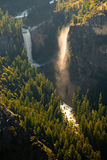 Waterfall in a forest. Aerial view of a waterfall in a forest, Vernal Fall, Glacier Point, Yosemite Valley, Yosemite National Park, California, USA Stock Images