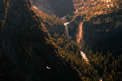 Waterfall in a forest. Aerial view of waterfall in a forest, Vernal Fall, Glacier Point, Yosemite Valley, Yosemite National Park, California, USA Royalty Free Stock Photo