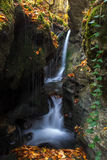 Waterfall in the forest. Autumn mountain stream in the forest Stock Photo