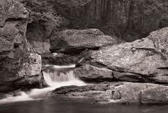 Waterfall and forest in B&W. A small waterfall over rock with a forest in the background. Photo is in black and white Stock Photos