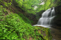 Waterfall in the forest of Bulgaria. Waterfall in the forest near Gara Bov, ecotrail Pod Kamiko, Bulgaria Royalty Free Stock Photography