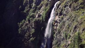 Waterfall in the forest, Chile. Tilt Down. `Salto del Agua` waterfall in the forest near of Valparaiso, Chile stock footage