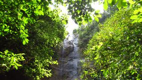 Waterfall in the forest Ciamis West Java. The water splashed on the stone wall behind the leaves, the location is located in the hegarmanah village of ciamis stock photos