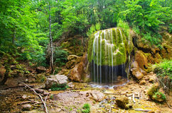 Waterfall. In forest,  in Crimea spring forest Royalty Free Stock Images