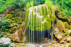 Waterfall. In forest,  in Crimea spring forest Stock Photo