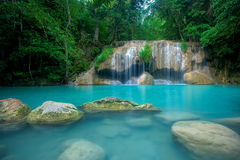 Waterfall in forest. At Erawan waterfall National Park, Kanchanaburi, Thailand Royalty Free Stock Image