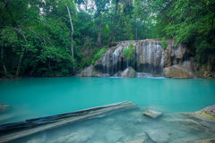 Waterfall in forest at Erawan waterfall National Park Stock Images