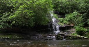 Waterfall in the forest flowing into the river. North corolina stock video