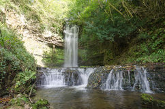 A waterfall in the forest, Ireland Stock Photo