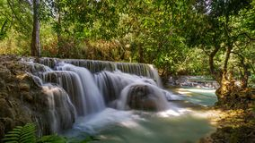 Waterfall in the forest. Kuang si waterfall in luang prabang, laos Royalty Free Stock Image