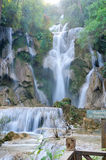 Waterfall in forest in Luang Prabang, Lao Royalty Free Stock Images