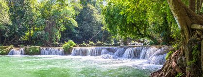 Waterfall in a forest on the mountain in tropical forest stock photography