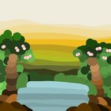Waterfall and Forest in Multi-layer Background. The waterfall and forest and mountain view in flat design and multiple layer of background and wallpaper royalty free illustration