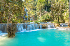 Waterfall in forest, names  Tat Kuang Si Waterfalls Royalty Free Stock Photography