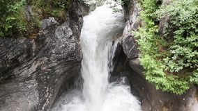 Waterfall in the forest. Raging water in Switzerland stock video footage