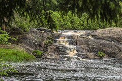 Waterfall in the forest. Republic of Karelia, Russia Royalty Free Stock Images