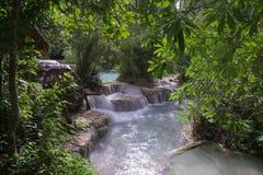Kouangxi waterfall at Luangprabang in Laos. Waterfall in forest at Tat Kuang Si Kouangxi waterfall, Luangprabang, Loas Royalty Free Stock Photos