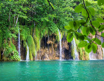 Waterfall in the forest. View of the waterfall at National park Plitvice lakes in Croatia Royalty Free Stock Images