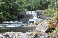 Waterfall in the forest stock images