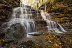 Waterfall in the Foreste Casentinesi in autumn Royalty Free Stock Photography