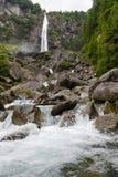 Waterfall of Foroglio in Bavona valley on Switzerland Stock Photos
