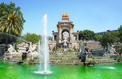 Waterfall and fountain of Parc de la Ciutadella, Barcelona Stock Photos