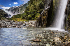 Waterfall in Franz Josef Glacier Valley Royalty Free Stock Images