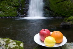 Waterfall and fruit Stock Image