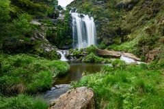 Waterfall in Galicia. Little waterfall not famous in Lugo, Spain stock photo