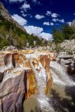 Waterfall of Ganges River flows across the Gangotri town Stock Photo