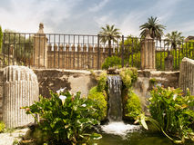 Waterfall in garden of Alcazar of Cordoba Stock Image