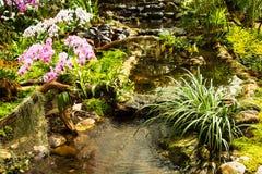 Waterfall in garden design. Stock Photo
