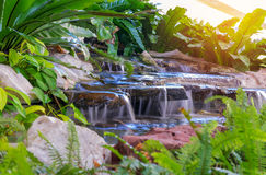 Waterfall in garden with plant at public park Royalty Free Stock Images