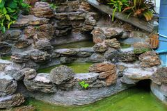 Waterfall in the garden water dry Lack of care Royalty Free Stock Photo