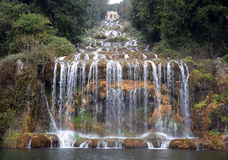 Waterfall in the gardens of royal palace of Caserta Italy. Photo Stock Photo