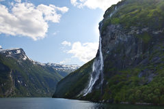 Waterfall of Geiranger fjord Royalty Free Stock Photography