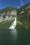 Waterfall in Geiranger Fjord. Image shows a waterfall in Geiranger ford in norway royalty free stock photos