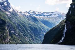 Waterfall of Geiranger fjord Stock Image