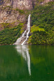 Waterfall in Geiranger fjord - Norway Stock Images