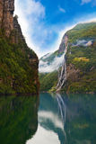 Waterfall in Geiranger fjord Norway Royalty Free Stock Photos