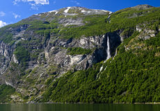 Waterfall at the Geiranger Fjord Royalty Free Stock Photo