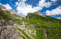 Waterfall in Glacier national park Royalty Free Stock Photos