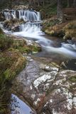 Waterfall at Glen Feshie in the Cairngorms National Park of Scotland. Forest Falls Waterfall at Glen Feshie in the Cairngorms National Park of Scotland Stock Photo