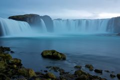 Waterfall Godafoss in blue cast of dusk Stock Image