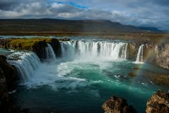 Waterfall Godafoss in Iceland, september royalty free stock images