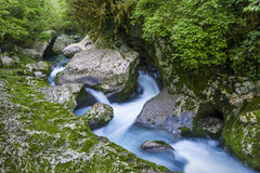 Waterfall in the gorge Chernigovka Royalty Free Stock Images