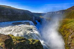 Waterfall and gorge in Iceland Stock Photo